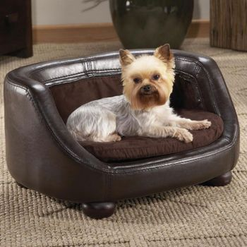 Faux Leather Dog Sofa 38l X 29w X 18h