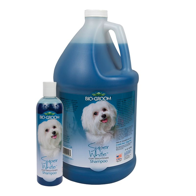 Bio-Groom Super White(R) Coat Brightening Dog Shampoo Fighting the war against dingy, one pup at a time! Super White Coat Brightening Shampoo by Bio-