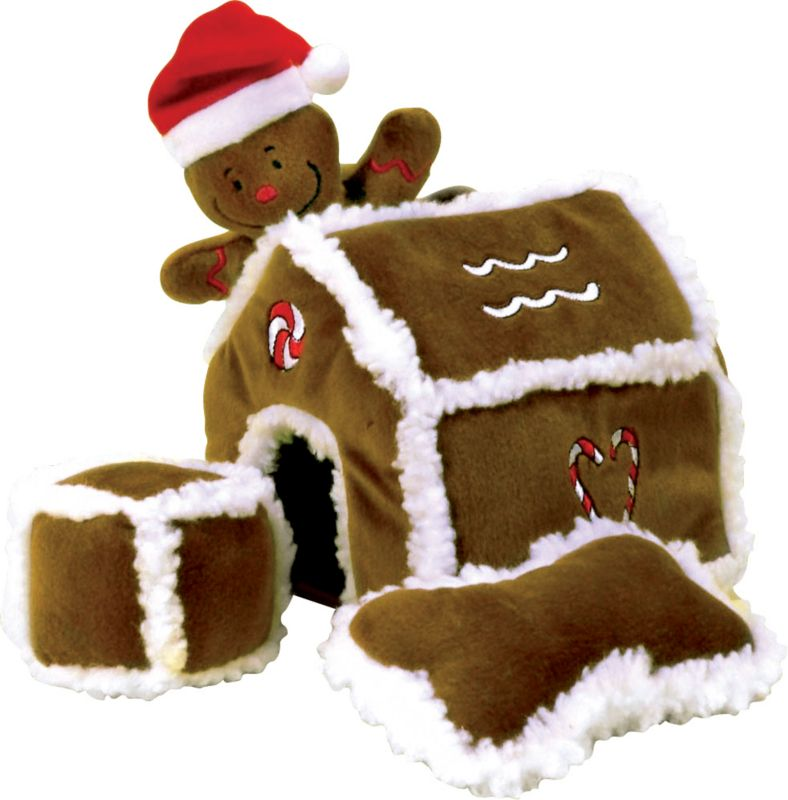 Hide A Toy Gingerbread Puzzle House Dog Toy
