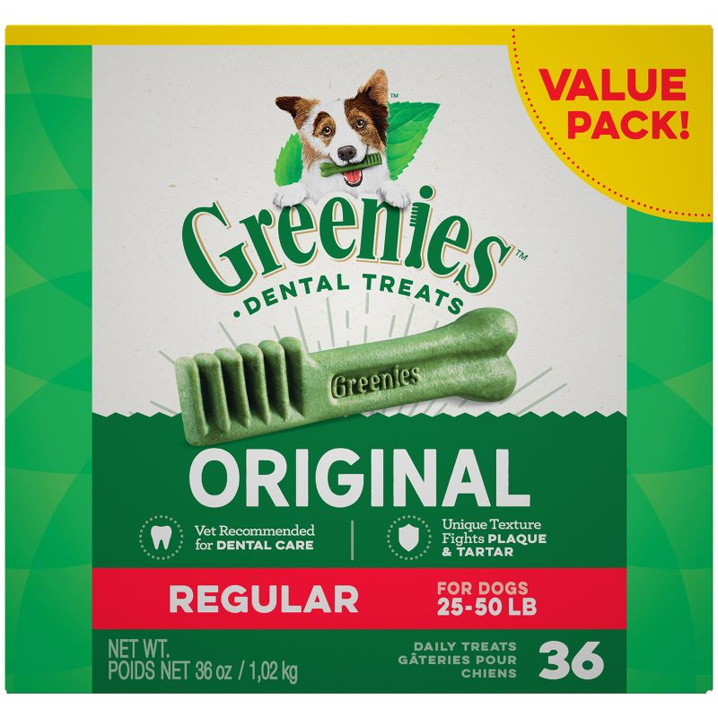 Greenies Dog Dental Chew Treats Regular 18oz 18ct