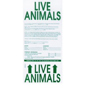 Travel Crate LBL Live Animal Sticker