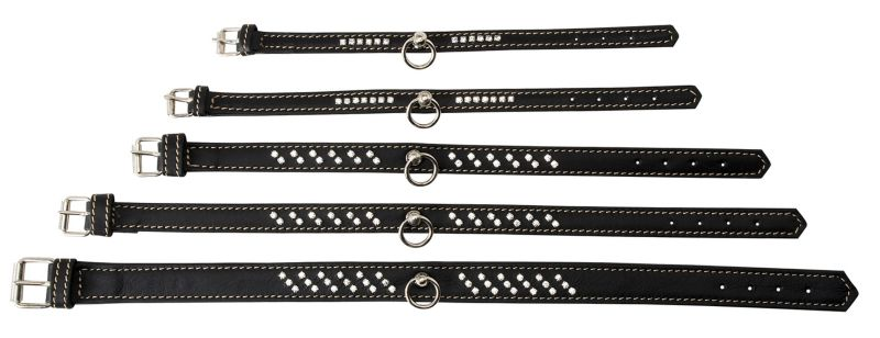 Petego Calfskin Dog Collar with Crystals LG Black