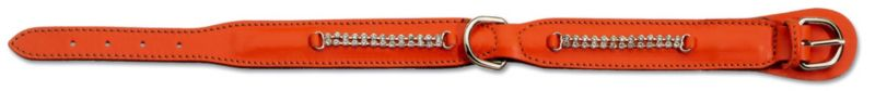 Petego Padded Leather Crystal Dog Collar SM Orange