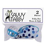Savy Tabby Polka Dot Mouse Ball 2Pk Cat Toy