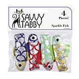 Savvy Tabby Sparkle Fish 4 Pk Cat Toy