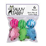 ST Hairy Mice and Lattice Balls 6 Pk Cat Toy