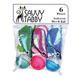 Savvy Tabby Iridescent Mice and Ball 6 Pk Cat Toy