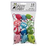 Savy Tabby Knit and Fur Mice and Ball 12Pk Cat Toy
