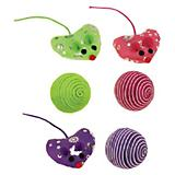 ST Sparkle Heart Mice and Cord Balls 6Pk Cat Toy