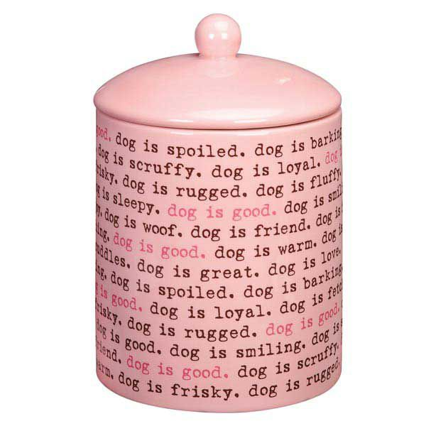 Dog Is Good Dogism Dog Treat Canister Pink