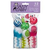 Feather Roller 2 Tone Mice and Balls Cat Toy 12Pk