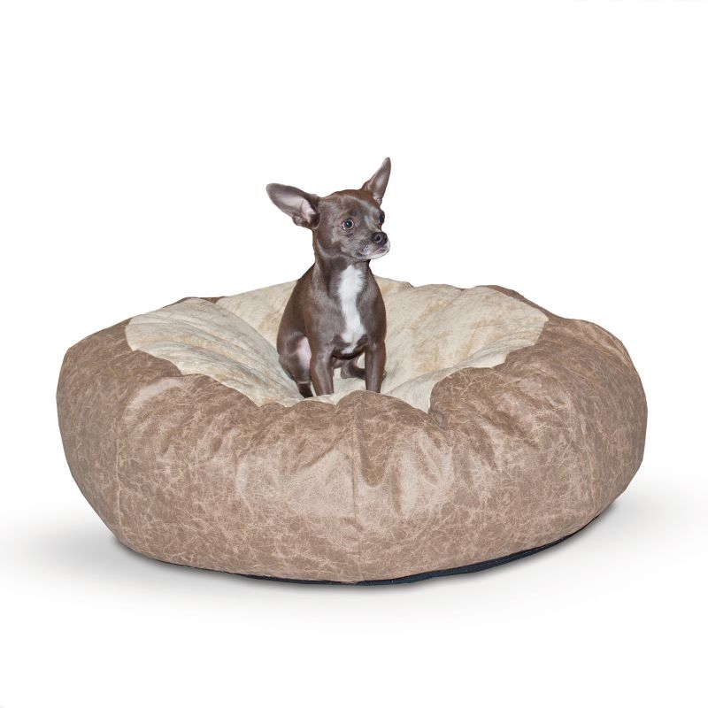 K and H Self Warming Tan Cuddle Ball Pet Bed MED
