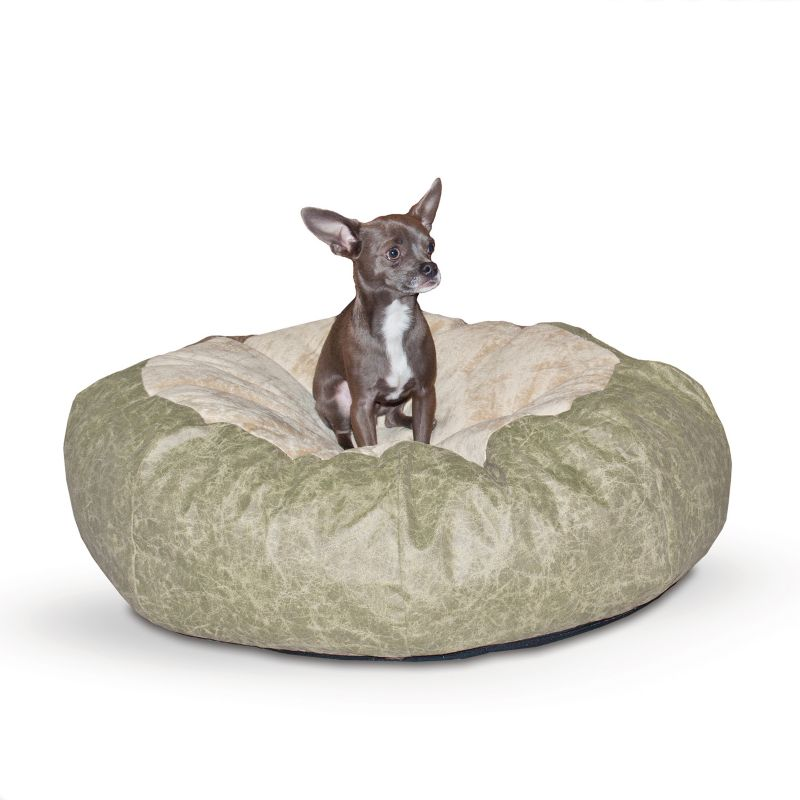 K and H Self Warming Green Cuddle Ball Pet Bed MED