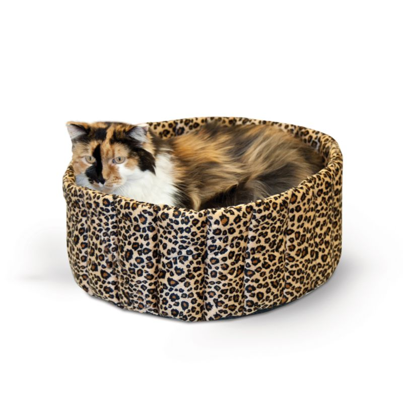 K and H Leopard Lazy Cup Pet Bed Large