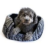 Dana Zoo Tiger Print Cuddler Gray Dog Bed