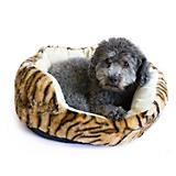 Dana Zoo Tiger Print Cuddler Orange Dog Bed