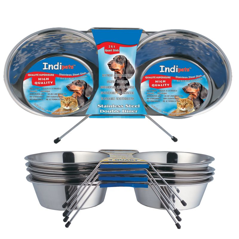 Indipets Stainless Steel Double Diner Cat Feeder
