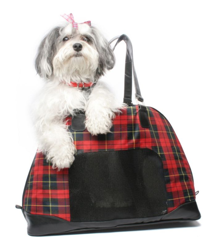 Bark n Bag Barkwell Plaid Bowler Sneak Pet Tote
