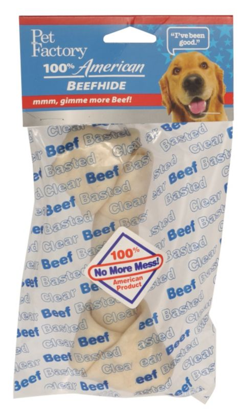 Clear Basted Bone Dog Rawhide 8in Peanut Butter