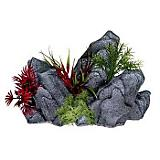 Blue Ribbon Rock Outcropping w/Multi Color Plants