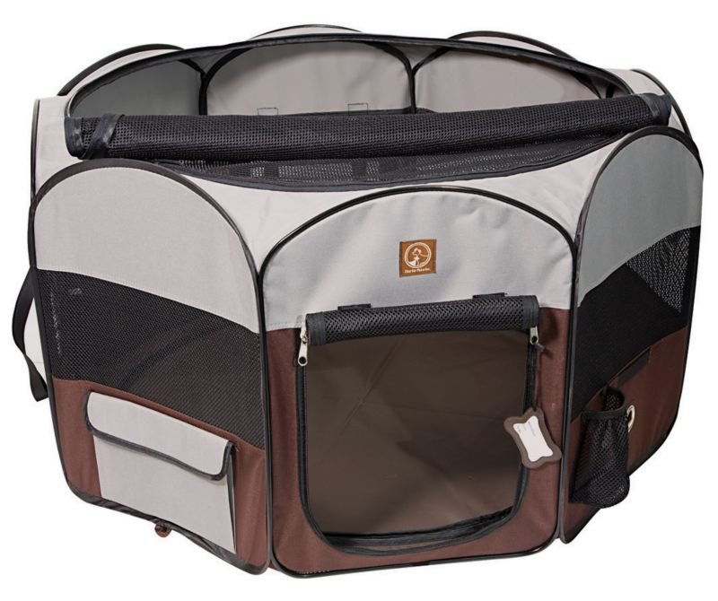 Image of One for Pets Grey/Brown Portable Pet Playpen LG