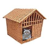 Home Bazaar Wicker Pet Cottage Honey