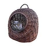 Home Bazaar Round Wicker Cat House Chocolate