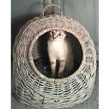 Home Bazaar Round Wicker Cat House Grey