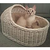 Home Bazaar Wicker Crib Cat Bed White