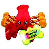Playtime Plush Lobster w/Rope Dog Toy
