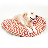 Majestic Outdoor Orange Chevron Round Pet Bed