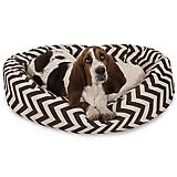 Majestic Chocolate Chevron Sherpa Bagel Bed