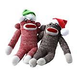 Multipet Holiday Sock Monkey Plush Dog Toy