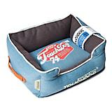 Touchdog Vintage Blue/Brown Bolster Dog Bed