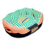 Touchdog Neutral Striped Orange/Green Dog Bed