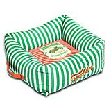 Touchdog Striped Green/Orange Square Dog Bed