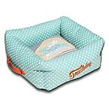 Touchdog Polka Striped Blue/Gray Square Dog Bed