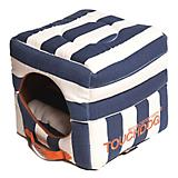 Touchdog Striped 2in1 Blue/White Dog House Bed