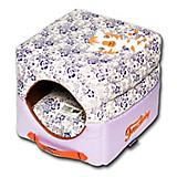 Touchdog Floral Galore 2in1 Purple Dog House Bed