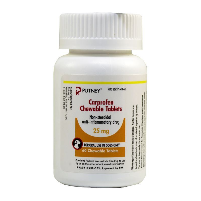 Carprofen Chewable Tablets 25 mg, 75 mg and 100 mg. Carprofen is a non-steroidal anti-inflammatory agent used to relieve pain and inflammation in dogs. Benefits: Carprofen is used in dogs for the relief of pain and inflammation associated with osteoarthritis, as well as the control of post-operative pain associated with soft tissue and orthopedic surgeries. For use: Dogs only Active ingredient(s); Carprofen Cautions: Make sure to tell your veterinarian what other medication you are giving to your pet. Quite often your veterinarian may prescribe two different medications, even if a drug interaction may occur. In this case, your veterinarian may vary the dose and/or monitor your pet more closely. The following drugs can potentially interact with carprofen: phenytoin, valproic acid, oral anticoagulants, other anti-inflammatory agents, salicylates, sulfonamides, sulfonylurea anti-diabetic agents, probenecid, methotrexate, furosemide, digoxin, and glucocorticoids such as prednisone. Contac