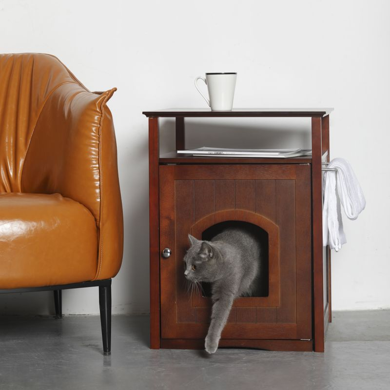 Cat Washroom-Nightstand Pet House Walnut