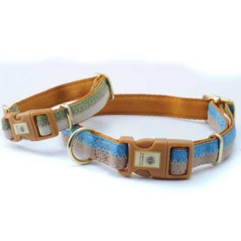 AKC Adjustable Collar 10in-16in x 5/8in Blue/Camel