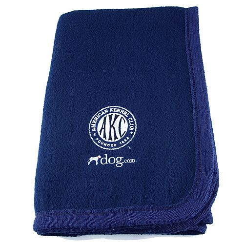 AKC-dog.com Embroidered Navy Fleece Blanket