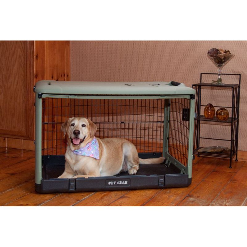 The Other Door Steel Dog Crate w/Pad LG Sage