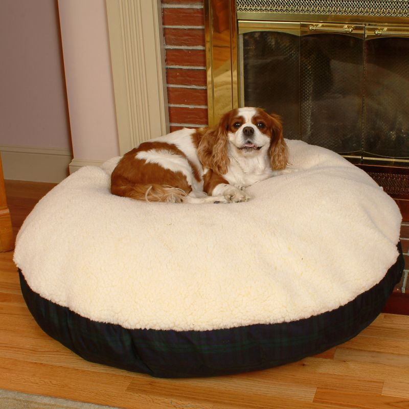 Cream Sherpa Top Round Pet Bed Large Plum