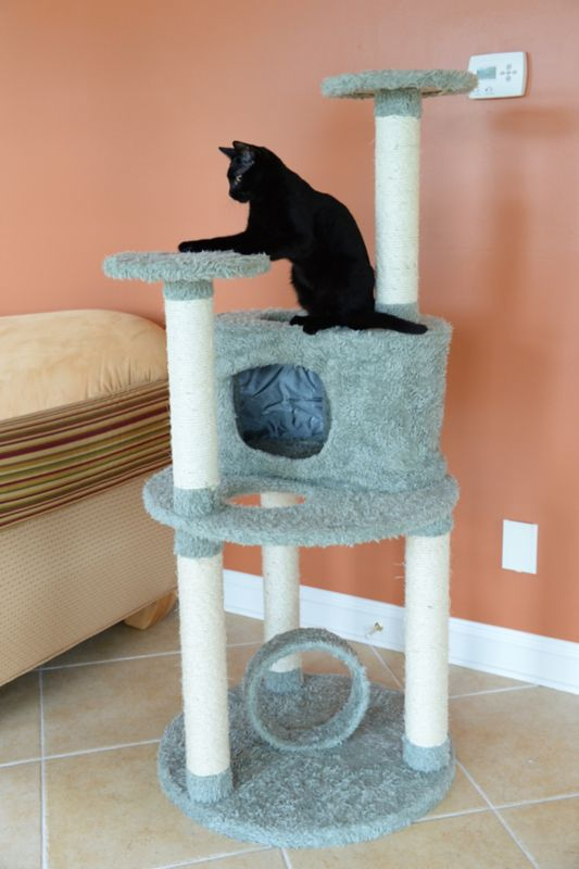 60 Inch Cat Condo with Faux Fur