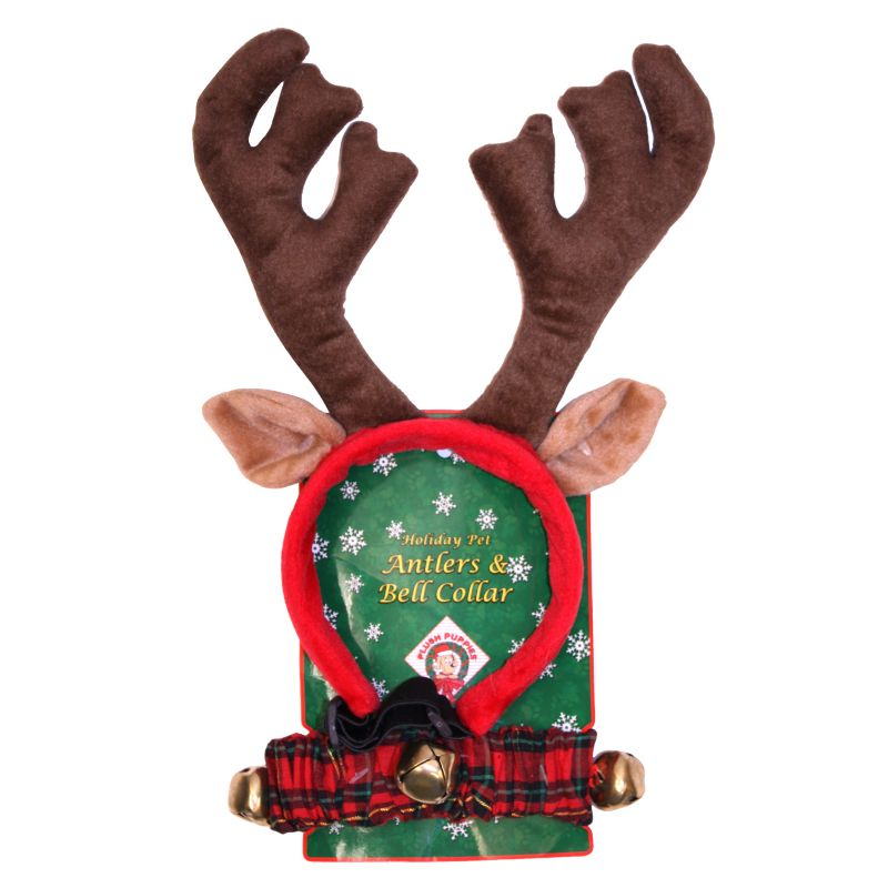 Dog Reindeer Antler & Jingle Bell Collar Set Large