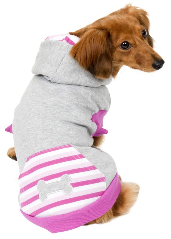 Fashion Pet Striped Dog Hoodie Medium Pink