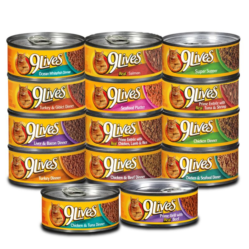 9 Lives Ground Can Cat Food Case Liver/Bacon Best Price