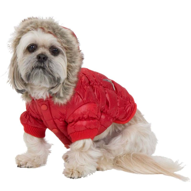 Fashion Pet Quilted Hooded Dog Parka Large Red